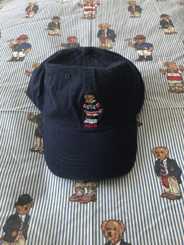Navy Ralph Lauren Polo Bear Cap 🐻 (Hockey)-Hats/Accessories-DISTINCT - THREADS