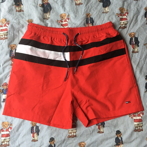 Red Tommy Hilfiger Swimming Shorts 🏊🏽 (L)-Bottoms-DISTINCT - THREADS