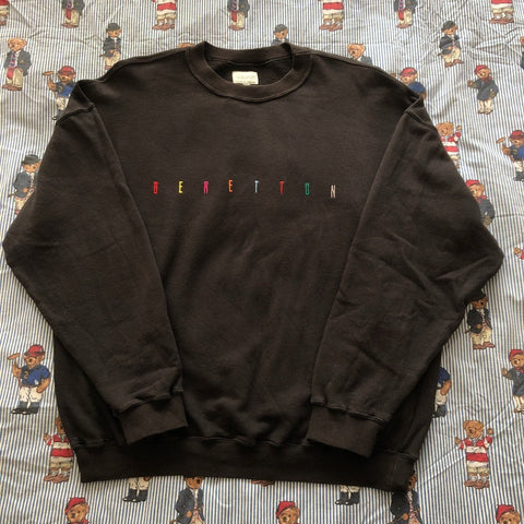 Vintage 80's Black United Colors Of Benetton Sweatshirt (L)-Sweatshirts/Jumpers-DISTINCT - THREADS