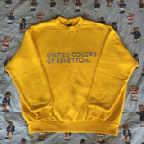 Vintage 80's Sun Yellow United Colors Of Benetton Sweatshirt 🍋 (M)-Sweatshirts/Jumpers-DISTINCT - THREADS