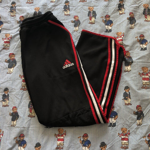 "Vintage 90's Black Adidas Tracksuit Bottoms (M 32"")-Bottoms-DISTINCT - THREADS"