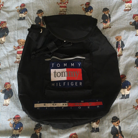Vintage 90s Black Tommy Hilfiger Rucksack-Hats/Accessories-DISTINCT - THREADS