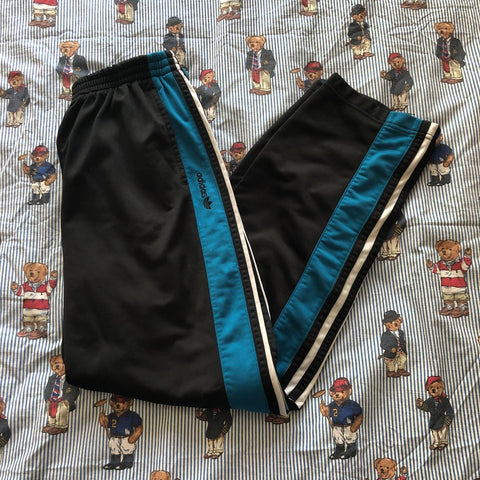 Vintage 90's Black & Turquoise Adidas Tracksuit Bottoms (M) - DISTINCT - THREADS - Bottoms