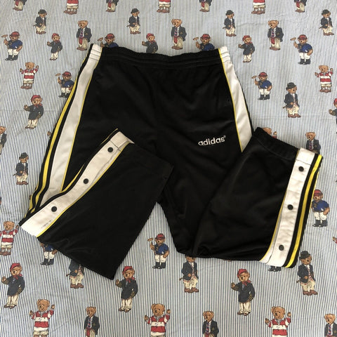 Vintage 90's Black & Yellow Adidas Popper Tracksuit Bottoms 🐝 (M)-Bottoms-DISTINCT - THREADS