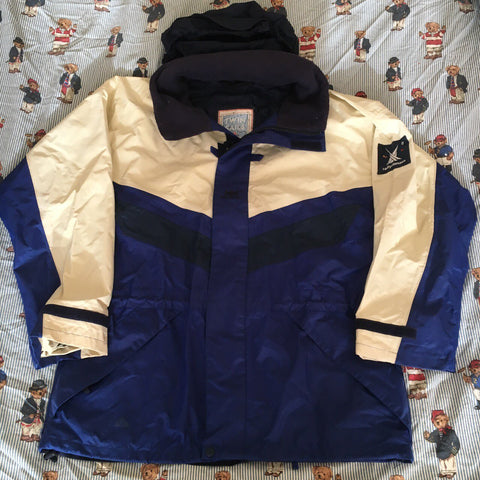 Vintage 90s Blue & Cream Helly Hansen Twin Sails Parka Jacket 🌊🌊🌊(M)-Jackets/Coats-DISTINCT - THREADS