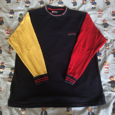 Vintage 90's Colour Block Chaps Ralph Lauren Sweatshirt 🔵🍏🍎🍋 (L)-Sweatshirts/Jumpers-DISTINCT - THREADS