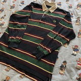 Vintage 90s Forest Green & Navy Fred Perry Rugby Shirt 🌲 (M)-Rugby Tops-DISTINCT - THREADS