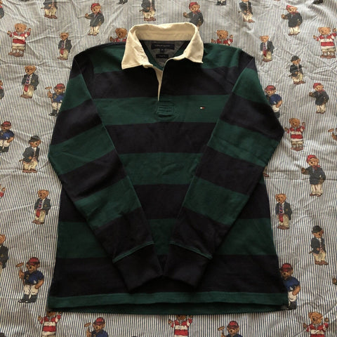 Vintage 90s Forest Green & Navy Tommy Hilfiger Rugby Shirt 🌲(M)-Rugby Tops-DISTINCT - THREADS