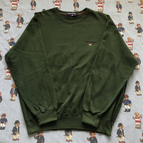 Vintage 90s Forest Green Polo Sport Sweatshirt 🇺🇸 (L)-Sweatshirts/Jumpers-DISTINCT - THREADS