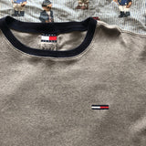 Vintage 90's Grey Ribbed Tommy Hilfiger T Shirt (L)-T Shirts-DISTINCT - THREADS