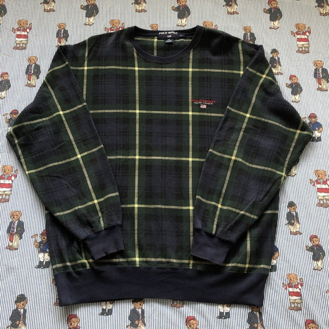 Vintage 90s Navy & Forest Green Check Polo Sport Sweatshirt 🇺🇸 (XL)-Sweatshirts/Jumpers-DISTINCT - THREADS