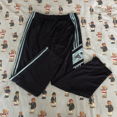 Vintage 90's Navy & Light Blue Adidas Popper Tracksuit Bottoms (M)-Bottoms-DISTINCT - THREADS