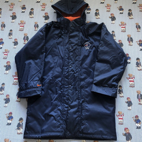 Vintage 90s Navy Nike Longline Parka Coat (M)-Jackets/Coats-DISTINCT - THREADS