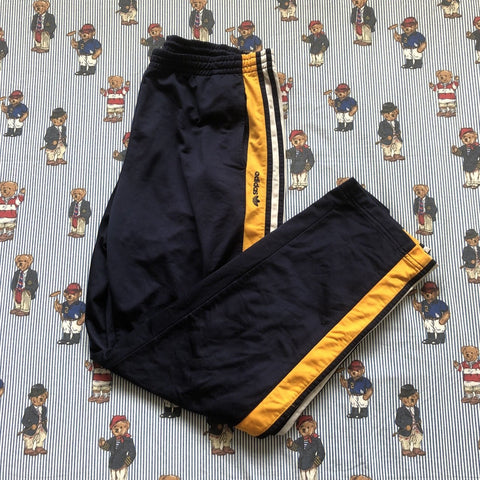 Vintage 90's Navy & Orange Adidas Popper Tracksuit Bottoms (L)-Bottoms-DISTINCT - THREADS