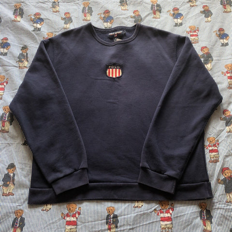Vintage 90's Navy Polo Sport K Swiss Sweatshirt (M)-Sweatshirts/Jumpers-DISTINCT - THREADS