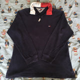 Vintage 90's Navy Tommy Hilfiger 1/4 Zip Rugby Shirt-Rugby Tops-DISTINCT - THREADS