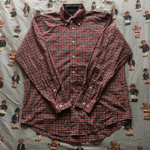 Vintage 90's Red And Navy Tommy Hilfiger Check Shirt (M)-Shirts-DISTINCT - THREADS