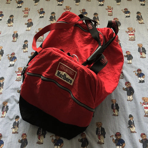 Vintage 90s Red & Black Marlboro 2 in 1 Duffel Bag / Rucksack 🚬-Hats/Accessories-DISTINCT - THREADS
