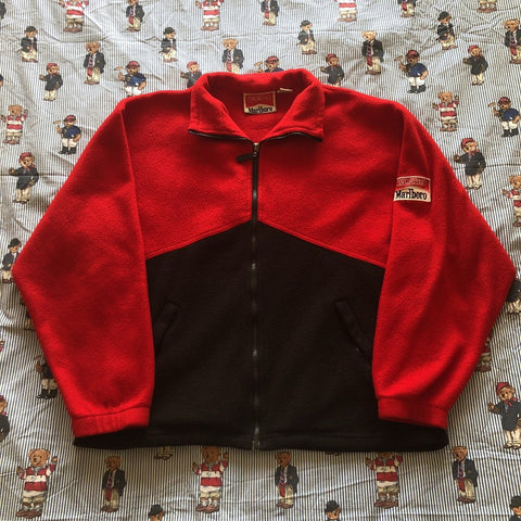 Vintage 90s Red & Black Marlboro Fleece 🚬 (L)-Fleeces-DISTINCT - THREADS
