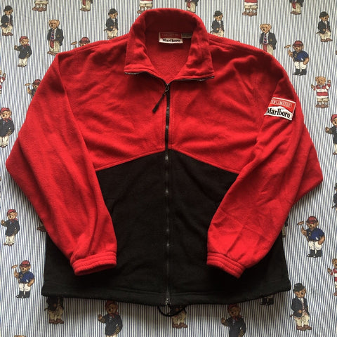 Vintage 90s Red & Black Marlboro Fleece 🚬 (S)-Fleeces-DISTINCT - THREADS