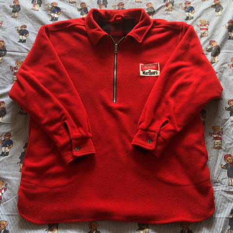 Vintage 90s Red & Black Marlboro Reversible 1/4 Zip Fleece 🚬 (L)-Fleeces-DISTINCT - THREADS