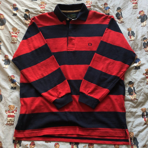 Vintage 90s Red & Navy Fred Perry Rugby Shirt (M)-Rugby Tops-DISTINCT - THREADS