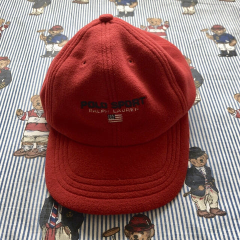 Vintage 90s Red Polo Sport Fleece Six Panel Cap 🇺🇸-Hats/Accessories-DISTINCT - THREADS