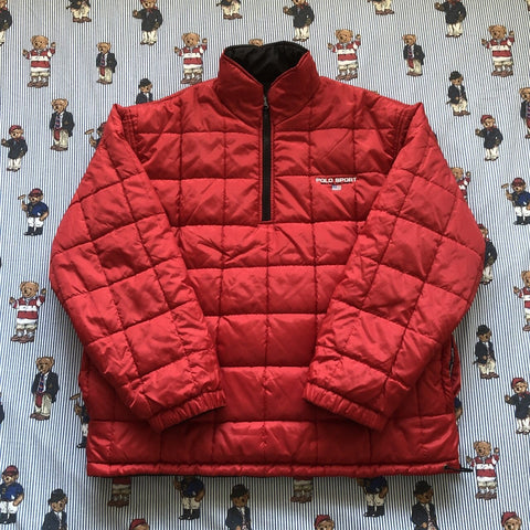 Vintage 90s Red Polo Sport Reversible 1/4 Zip Puffer Jacket 🇺🇸 (M)-Jackets/Coats-DISTINCT - THREADS