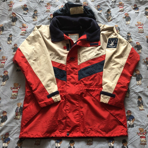 Vintage 90s Red & White Helly Hansen Twin Sails Jacket 🌊 (M)-Jackets/Coats-DISTINCT - THREADS