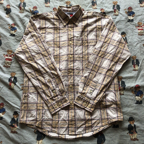 Vintage 90's White And Sand Tommy Hilfiger Check Shirt (S)-Shirts-DISTINCT - THREADS
