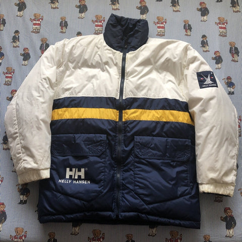Vintage 90s White & Navy Helly Hansen Twin Sails Reversible Puffer Jacket ⛵️(L)-Jackets/Coats-DISTINCT - THREADS