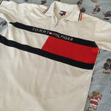 Vintage 90's White Tommy Hilfiger Polo Shirt (M)-Polos-DISTINCT - THREADS