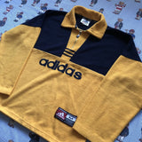 Vintage 90s Yellow & Navy Adidas 1/4 Zip Fleece (M)-Fleeces-DISTINCT - THREADS