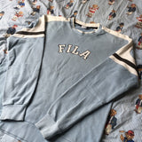 Vintage Baby Blue Fila Sweatshirt (M)-Sweatshirts/Jumpers-DISTINCT - THREADS