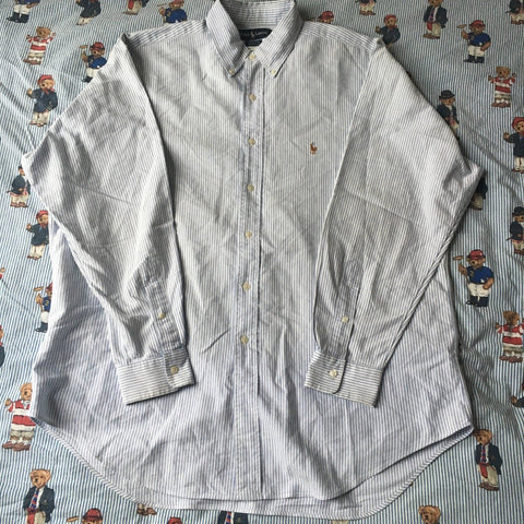 Vintage Baby Blue Pinstripe Ralph Lauren Button Down Shirt (L-XL)-Shirts-DISTINCT - THREADS