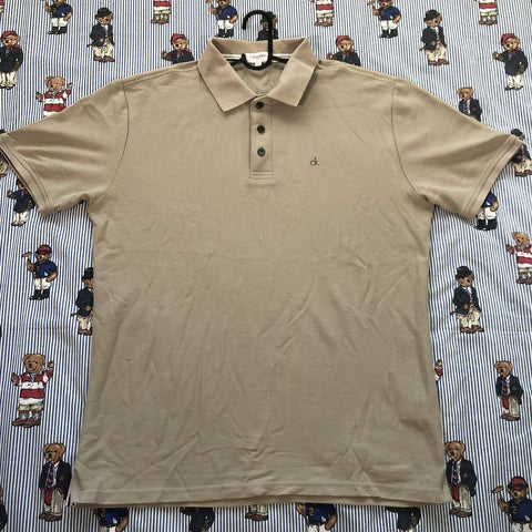 Vintage Beige Calvin Klein Polo Shirt-Polos-DISTINCT - THREADS