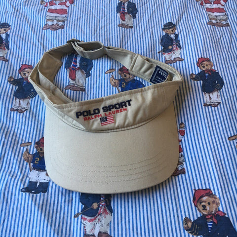 Vintage Beige Polo Sport Sun Visor 🔥-Hats/Accessories-DISTINCT - THREADS