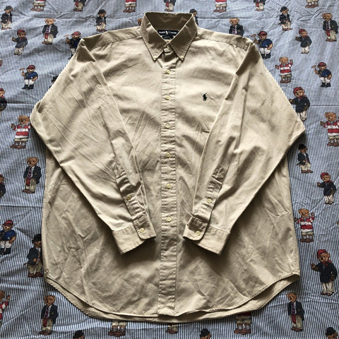 Vintage Beige Ralph Lauren Button Down Shirt (L)-Shirts-DISTINCT - THREADS