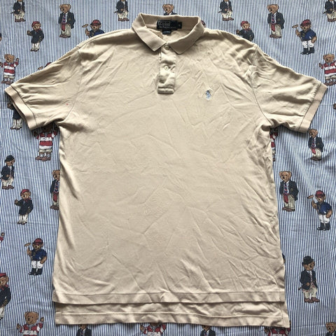 Vintage Beige Ralph Lauren Polo Shirt (M)-Polos-DISTINCT - THREADS