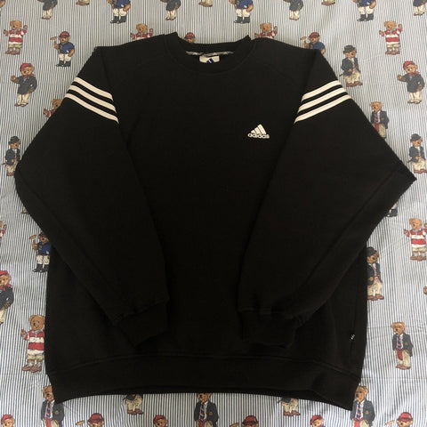 Vintage Black Adidas Sweatshirt (L)-Sweatshirts/Jumpers-DISTINCT - THREADS