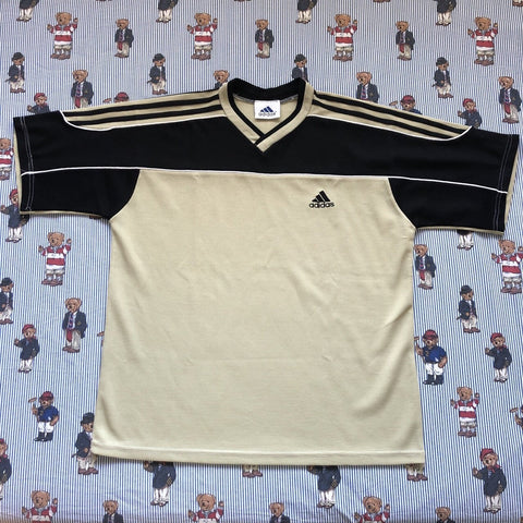 Vintage Black & Beige Adidas T Shirt (XL)-T Shirts-DISTINCT - THREADS