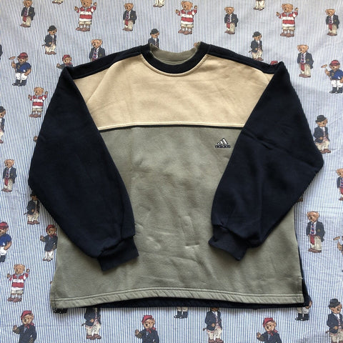 Vintage Black, Khaki & Beige Adidas Panel Sweatshirt (M)-Sweatshirts/Jumpers-DISTINCT - THREADS