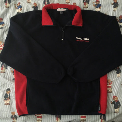 Vintage Black Nautica 1/4 Zip Fleece (L)-Fleeces-DISTINCT - THREADS