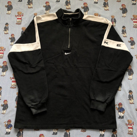 Vintage Black Nike 1/4 Zip Sweatshirt (XL)-Sweatshirts/Jumpers-DISTINCT - THREADS