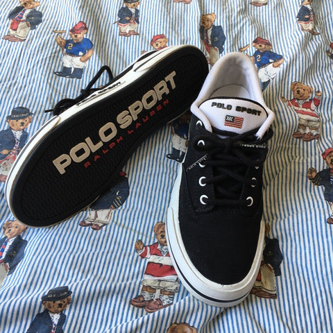 Vintage Black Polo Sport Trainers (UK 6)-Footwear-DISTINCT - THREADS