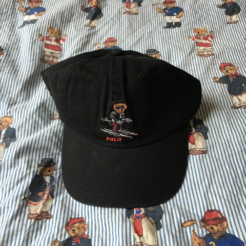 Vintage Black Ralph Lauren Polo Bear Six Panel Cap 🐻 (Ski)-Hats/Accessories-DISTINCT - THREADS