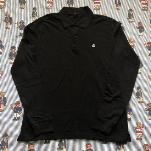 Vintage Black United Colors Of Benetton Long Sleeve Polo Shirt (L)-Polos-DISTINCT - THREADS