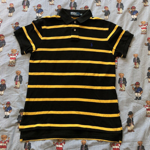 Vintage Black & Yellow Striped Ralph Lauren Polo Shirt 🐝 (M)-Polos-DISTINCT - THREADS