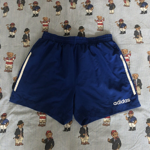 Vintage Blue Adidas Sports Shorts (M)-Bottoms-DISTINCT - THREADS