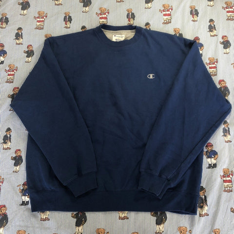 Vintage Blue Champion Sweatshirt (XXL)-Sweatshirts/Jumpers-DISTINCT - THREADS